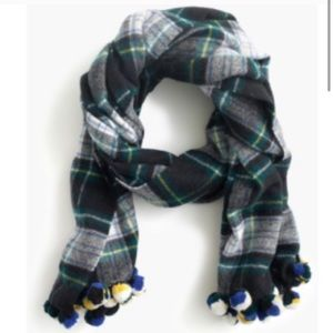 NWT J Crew Plaid Wool Pom Scarf